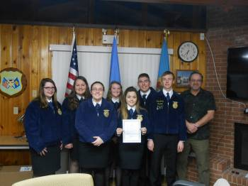 Members of the Lake Forest Chapter of the FFA received a proclamation from Mayor Anthony R. Moyer declaring February 18-25 as FFA Week in Harrington.